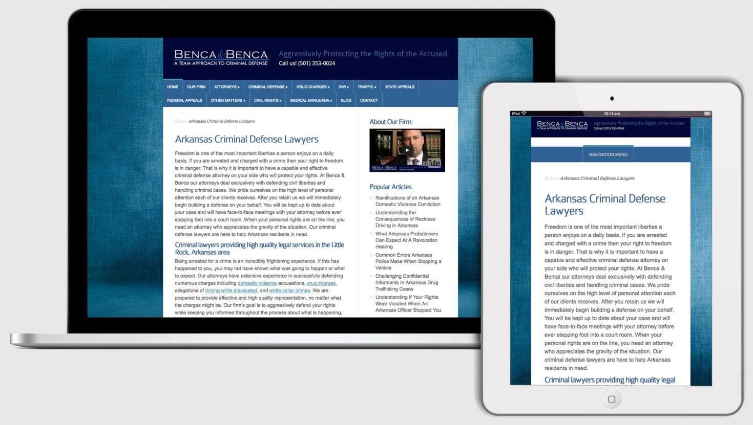 Criminal defense attorney website example